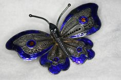 Hey, I found this really awesome Etsy listing at https://www.etsy.com/listing/234855075/blue-enamel-butterfly-brooch