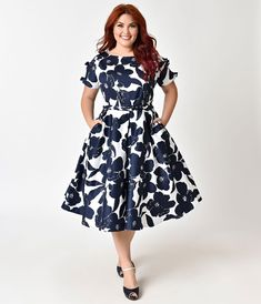 Unique Vintage Plus Size 1950s White & Navy Floral Bow Sleeve Selma Swing Dress