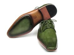 Paul Parkman Men's Ghillie Lacing Side Handsewn Dress Shoes - Green Leather Upper and Leather Sole