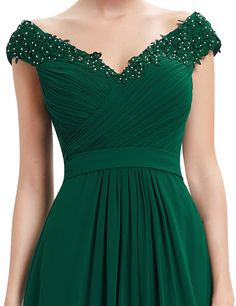 Ever-Pretty Long V-neck Wedding Gowns Dark Green Bridesmaid Party Dress 08633 Glamorous Evening Dresses, Elegant Dresses, Evening Gowns, Long Gown Elegant, Evening Dresses For Weddings, Green Wedding Dresses, Prom Dresses, Formal Dresses, Emerald Green Bridesmaid Dresses