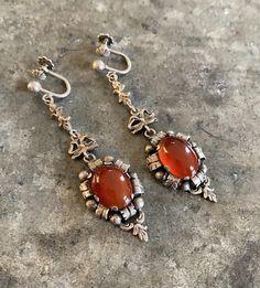 Antique Victorian Carnelian Dangle Earrings German 800 Silver | Etsy Antique Jewelry, Vintage Jewelry, Screw Back Earrings, Carnelian, Jewelry Gifts, Dangle Earrings, Dangles, Quartz, Jewels