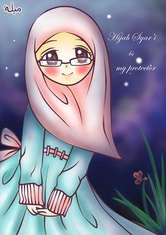 Hijab and Me by BidadariSurga on DeviantArt Cartoon Art, Cute Cartoon, Muslim Pictures, Beautiful Muslim Women, Beautiful Hijab, Hijab Drawing, Islamic Cartoon, Girly M, Girly Pictures