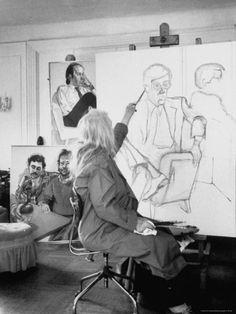 Alice Neel Painter | Painter Alice Neel in Her Studio Premium Photographic Print by Alfred ...