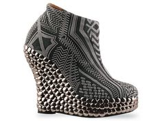 Jeffrey Campbell Eyebrow Grey Tribal Tick Platform Bootie