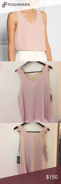 """NWT Chloe Silk Top in Washed Pink****Couture Brand Stunning! Gorgeous Chloe silk tank in washed pink. Beige lining in silk acetone blend. New with tags!!! A little wrinkled from closet storage. Will fit a size large/XL for a loose drape fit. Fantastic price for a lovely, couture piece that's endlessly versatile. Length 27.5"""".  Bust 21"""". Chloe Tops"""