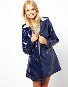 blue ASOS rain coat