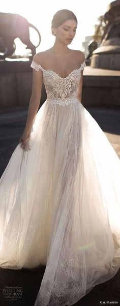 gali karten 2017 bridal off the shoulder sweetheart neckline heavily embellished bodice tulle skirt romantic soft a line wedding dress open v back chapel train (3) zv #luxurydress
