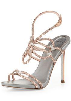 2f02766a1afae Rene Caovilla Crystal High-Heel Ankle-Wrap Sandal Ciabatta