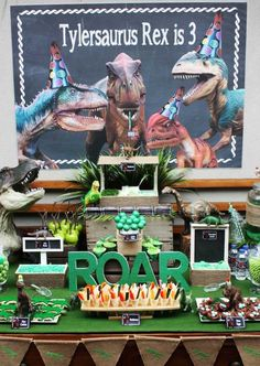 T-Rex Dinosaur themed birthday party with So Many Awesome Ideas via Kara's Party Ideas! Full of decorating ideas, cupcakes, decor, recipes, games, and more! KarasPartyIdeas.com