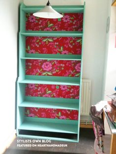 Omg Those Colours and that wallpaper!!! Stylists own blog wallpapered cabinet - Loving this post - 20 Fabulous Furniture Ideas