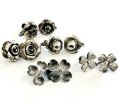 Sterling Silver 925 Earring LOT Group Collection Screw Back Mexico NYE Floral Sterling Jewelry, Sterling Silver, Kitty Hawk, Nye, Mexico, Artisan, Group, Gemstones, Floral