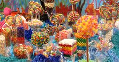Candyland - birthday party -- How to Set Up A Candy Buffet - Rainbow Candy Bar - Candy Buffet Tables, Candy Table, Buffet Ideas, Rainbow Candy Buffet, Bar Ideas, Lolly Buffet, Birthday Candy Buffet, Dessert Buffet, Candy Wallpaper