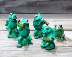 Vintage Miniature Frog Band Figurines Enesco 1978
