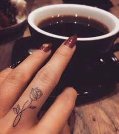 Pretty Rose Finger Tattoos Designs