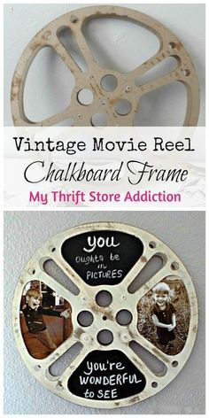 a reel y retro chalkboard frame repurposed vintage movie reel, chalkboard paint, crafts, home decor, repurposing upcycling