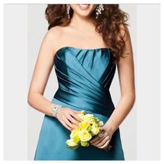 """⭐️LIKE NEW!  Alfred Angelo, Evening Gown JUST LIKE NEW! Elegant Full Length Satin Gown in Dark Green 