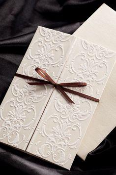 Ivory Flocked Wedding Invitations