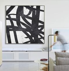 Abstract Painting Extra Large Canvas Art, Handmade Black White Geometric Art, Acrylic MinimaIlist Painting.