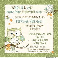 Owl Sayings for Baby | Feathery Owl Baby Shower Invitation - Mommy-to-be Green & Blue Boy
