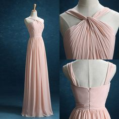 Blush Bridesmaid dress Long Double Straps Pleated by harsuccthing