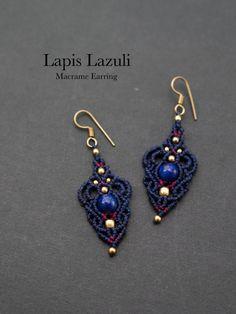 Macrame earrings lapis lazuli STONES SPIRIT Power Stone × macrame × healing jewelry shop