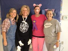 My mom's teachers dressed up as the Charlottes Web characters for Halloween!