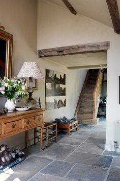 Discover hallway ideas on HOUSE - design, food and travel by House & Garden, including Robin Muir's South Downs house. Love this contemporary design for a farm/country house Flagstone Flooring, House Styles, House Design, Kitchen Flooring, Flooring, Wooden Stairs, Home Decor, House Interior, Country House Decor