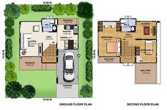 3 Bedrooms Home Plan - SamPhoas Plansearchsearch 2 Storey House Design, Ground Floor Plan, Photo Layouts, How To Level Ground, Second Floor, Terrace, House Plans, Bedroom Decor, Floor Plans