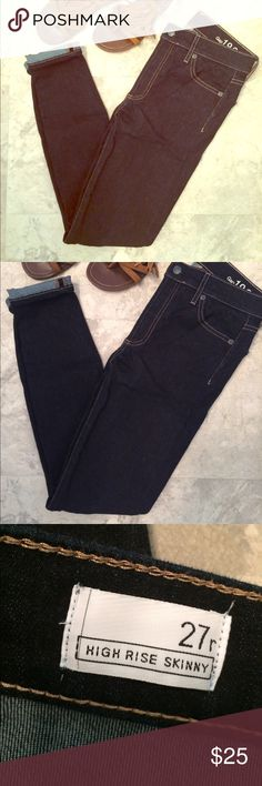 Gap Trendy High Rise Skinny dark Blue Jeans 27r Gap Trendy High Rise Skinny dark Blue Jeans 27r. Wore and washed once. Dark blue skinny and high waisted. Very soft and stretchy made from 98% cotton 2% elastane. Great condition. Feel free to ask any questions! GAP Jeans Skinny