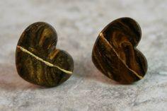 Kintsugi (kintsukuroi) style broken heart stud earrings in swirled brown polymer clay with gold repair - OOAK by AKintsugiLife