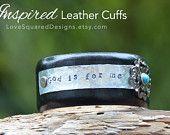 God is for me,  Leather cuff bracelet, Metal stamped bracelet