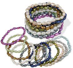 $14.99 - Multi-Colored Genuine Freshwater Cultured Pearl Stretch Bracelets - Set of 10!