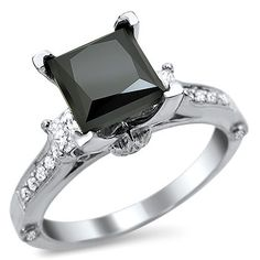 2.25ct Black Princess Cut 3 Stone Diamond Engagement Ring 18k White Gold / Front Jewelers