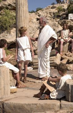 Young Alexander and Aristotle - Connor Paolo and Christopher Plummer in Alexander, set between 356 and 323 BC (2004).