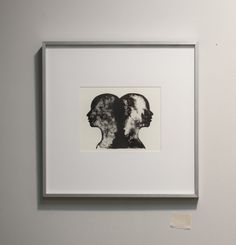 Framed hand pulled lithograph Gemini Double Profile by ANKarabin, $150.00