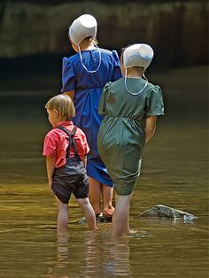 Wading in the creek. ......Amish Life