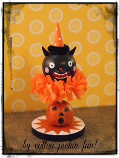 Folk Art Scaredy Halloween Cat Vintage Inspired by cottonpickinfun, $35.00
