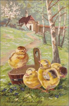 Easter Postcard - Easter Chick with bucket, mill, Easter vintage post card by sharonfostervintage on Etsy