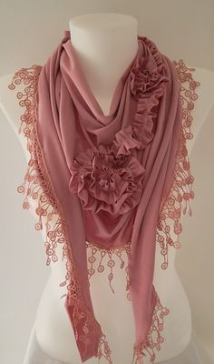 Soft Pink  Jersey Rose Shawl/ Scarf  Headband by TrendyTextile,