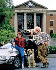Michael J Fox & Christopher Lloyd -[Back to the Future Photo Iconic Movies, Old Movies, Classic Movies, Michael J Fox, Marty Mcfly, The Future Movie, Back To The Future, Bttf, Film Serie