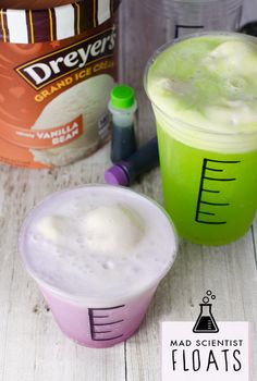 Help your kids turn ordinary Dreyer's ice cream floats into fun, make-your-own Halloween treats with this simple family-friendly dessert. Grab a marker and transform plastic cups into beakers, fill with whatever brightly colored soda you choose (you can even add food coloring, too), top with a scoop of vanilla and watch them start foaming!