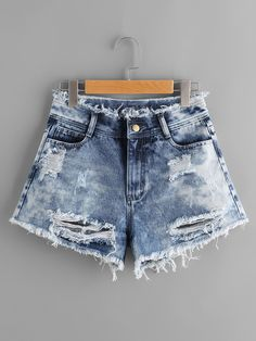 SheIn offers Cloud Wash Destroyed Denim Shorts & more to f Shop Cloud Wash Destroyed Denim Shorts online. SheIn offers Cloud Wash Destroyed Denim Shorts & more to fit your fashionable needs. Crop Top Outfits, Short Outfits, Cool Outfits, Summer Outfits, Girls Fashion Clothes, Teen Fashion Outfits, Denim Fashion, Emo Fashion, Moda Boho