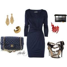 Navy & Gold with Valentino shoes!, created by cbrile.polyvore.com