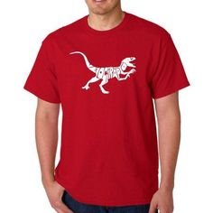 Los Angeles Pop Art Men's T-shirt - Velociraptor, Size: 2XL, Red