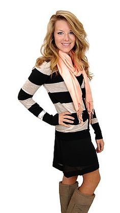 Scarf + Cardigan + Dress. Complete outfit from www.shopbluedoor.com  #shopbluedoor