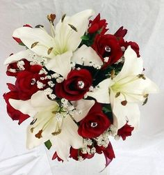 Bridesmaids Wedding Bouquet, Real Touch Ivory Lillies Silk Deep Red Roses