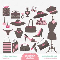 Fashion Accessories Digital Clipart by SSGARDEN on Etsy, $3.99