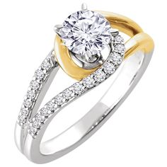 14kt White & Yellow 1/5 CTW Diamond Semi-mount Engagement Ring for 5.8mm Round Center |