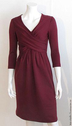 Купить Платье , модель 4142-3 - бордовый, однотонный, платье с драпироквой, трикотажное полотно