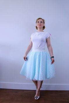 Mint tulle prom skirt, circle skirt, white polka dot skirt, summer skirt, evening skirt, bridesmaid outfit, knee length skirt, wedding skirt by ElzahDesign on Etsy